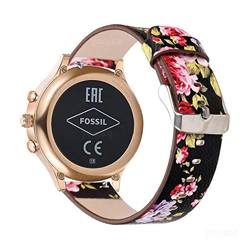 YOOSIDE for Fossil Damen Venture Armband,18mm Schnellverschluss Leder Replacement Uhrenarmbänder Wechselarmband für Fossil Damen Venture 3/4/HR 4,Ticwatch C2 Rose Gold (Rote Blume) -