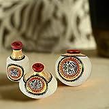 ExclusiveLane Terracotta Warli Handpainted Pots Natural White Set Of 3