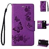 Wiko U feel Lite Handyhülle Book Case Wiko U feel Lite Hülle Klapphülle Tasche im Retro Wallet Design mit Praktischer Aufstellfunktion - Etui Lila
