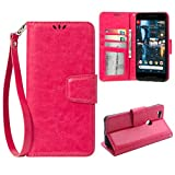 Flip Case for Google Pixel 2 XL, Scratch-Proof Leather Wallet Stand Cover with Card Slots Phone Case Protector for Google Pixel 2 XL, Rose Red