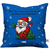 Cheerful Santa Print Blue Cushion Cover with Filler ( Xmas Gift For Her, Him, Boy, Girl, Dad, Mom, Friends, Family ) - Christmas Decorations