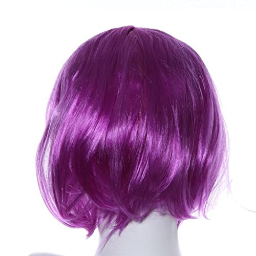 ☀JiaMeng Natürliche Weibliche Kurze Glatte Haare BOB Perücke bunt Cosplay lang Regenbogen gelockt Verträumt Süß Niedlich wig für Halloween Party - Weibliche Ash Kostüm