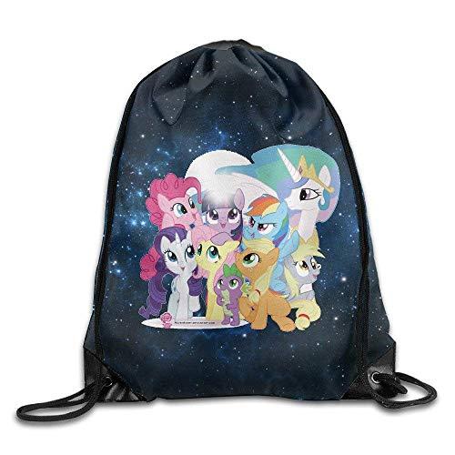 DHNKW My Little Pony Drawstring Backpack Bag White (Little My Pony Ballerina)