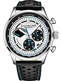 Stuhrling Original Men's Leather Tachymeter Watch - Stainless Steel Case - Analog Dial with Date 934 Watches for Men Collection (Black)