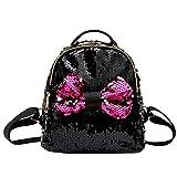SOMESUN Pacchetto❤Sacchetto di Scuola Papillon Moda Paillettes Borsa a Tracolla da Viaggio per Donna Zaino Fashion Lady Sequin Bow Borsetta Zaino Sportivo (Nero)