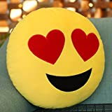 Emoji Pillow Hearts Eyes Cushion, Purple-Salt® - Emoticon Cute Soft Stuffed Comfortable Plush Smiley Cushion Pillow, 28cm/12 Inches Yellow Round Thick, Colourful Novelty Gift