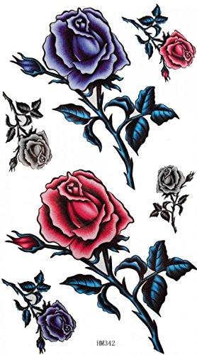 King Horse hommes et les femmes sexy autocollant de tatouage peinture imperméable à l'eau de roses embellissement ultime