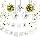 SUNBEAUTY Happy Birthday Girlande Set Geburtstag Dekoration Seidenpapier Pompoms Folie Spirale Deko (Weiß & Gold)