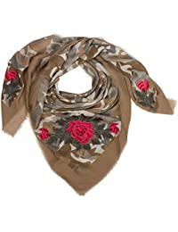 CASPAR SC473 Écharpe XXL pour femme - Grand foulard avec motif camouflage  et roses 9c5b333024c