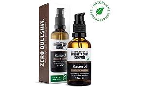 Natürliches Öl für die Rasur: Shaving Oil Rasieröl (50 ml) ✔ Naturkosmetik der BROOKLYN SOAP COMPANY Geschenkidee als Geschenk für Männer - Rasieröl für Konturen und vollständige Rasur