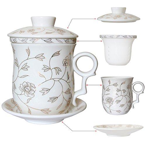 Hollihi Porcelaine Tasse à thé avec couvercle et soucoupe Infuseur Définit – Chinois Production de porcelaine à Céramique Mug à café thé Tasse de thé en vrac Système de préparation pour Home Office