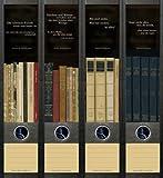 4er Set Ordnerrücken für breite Ordner Bücher Buch Aufkleber Etiketten Deko 050