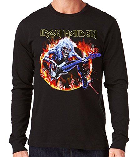 35mm - Camiseta Hombre Manga Larga - Iron Maiden - Steve Harris - Long Sleeve Man Shirt, NEGRA, S