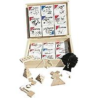 18 beliebte Geduldspiele Knobelspiele aus Holz in Holzbox