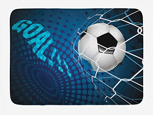 KAKICSA Soccer Bath Mat, Goal Football Flying into Net Abstract Dots Pattern Background European Sport, Plush Bathroom Decor Mat with Non Slip Backing, Blue Black White,19.6X31.4 inch