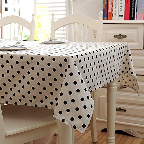 QiuQiu Protector de funda de tela de lunares blanco y negro Mantel algodón se limpia con un paño húmedo, algodón mixto, Polka Dots, 100x140cm