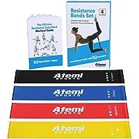 Bandas Elásticas de Resistencia   Set de 4 Bandas Ejercicio con Guía de Ejercicios   Cintas Elásticas para Yoga, Crossfit, Entrenamiento de Fuerza, Pilates, Fisioterapia