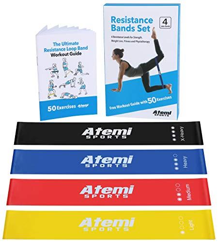 bande di resistenza | set da 4 elastici fitness con libretto di esercizi | bande elastiche fitness per la ginnastica, yoga, pilates, stretching, o per fisioterapia e riabilitazione