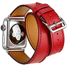 Sanday Bracelet pour AppleWatch Series 3 / 2 / 1,Design Double Bracelet de Remplacement Manchette en Cuir Pour Apple Watch 38mm Rouge