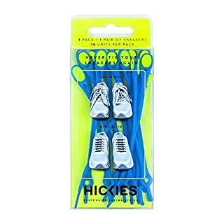 HICKIES Adults 1.0 Fits All Elastic No-Tie Shoelaces For All Types Of Shoes One Size Blue Yellow