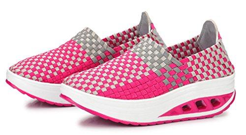 NEWZCERS Chaussures respirantes de forme physique d'espadrille d'armure de plate-forme d'été des femmes Rose