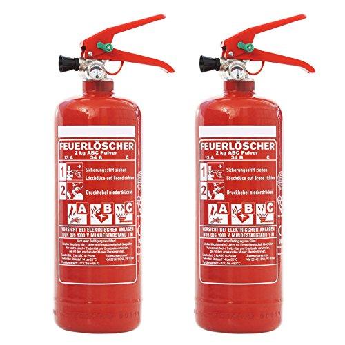 Feuerlöscher 2x 2kg ABC Pulver mit KFZ-Drahthalter &. großem Griff EN 3 inkl. ANDRIS® Prüfnachweis mit Jahresmarke &. ISO-Symbolschild