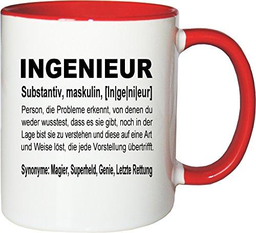 Mister Merchandise Kaffeebecher Tasse Ingenieur Definition Geschenk Gag Job Beruf Arbeit Witzig Spruch Teetasse Becher Weiß-Rot Ingenieur