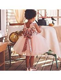 hibote Girls Bowknot Lace Princess Skirt Summer Sequins Robes pour bébé Tout-petits Enfants 0-5 ans