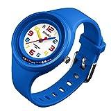 Mishuo Kinder Mädchen Armbanduhr Farbige Analog Japanisches Quarzwerk Wasserdicht 5 ATM Lernen Teaching Handgelenk Uhren (dunkelblau)