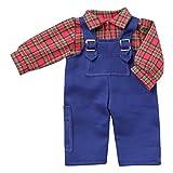 Unbekannt Schwenk Puppen Kleidung Blaumann mit Karohemd für 30 cm bis 34 cm Puppen 54032