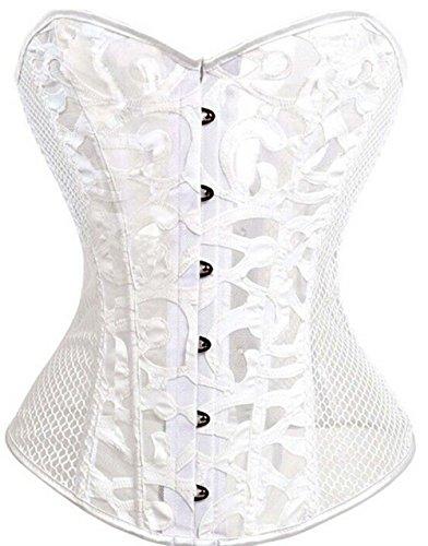 Damen Schwarz Weiß Body Shaper Vollbrust Corsage Top Übergrößen (EUR(40-42)2XL, Weiß )