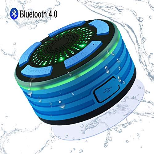 Alitoo Bluetooth Lautsprecher Wasserdicht, Dusche Lautsprecher Wireless Speaker mit FM-Radio und LED-Stimmungs-Lichtern, HD-Ton Wiederaufladbar für Smartphone Badezimmer Pool Party Strand