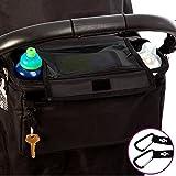 Bolsa organizadora XL para cochecito o silla de paseo de BTR. Bolsillo / soporte abatible exclusivo para el móvil y cubierta IMPERMEABLE. CON 2 ganchos para cochecito GRATUITOS. Un accesorio indispensable para cochecitos y sillas de paseo.