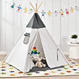 [en.casa]® Kinderzelt - Grau/Weiß - 150 x 120 x 120 cm - Spielzelt Babyzelt Spielhaus Tipi Indianer Wigwam