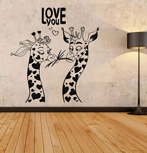 Liebe Tier Muster Wandaufkleber Liebe Dich Humor Giraffen Kunstdekor Removable Home Decoration Kinder Schlafzimmer Wohnzimmer Tapete 58X62 Cm