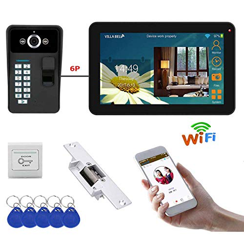 Love Life Intelligente Video-Türklingel 9 Zoll Wired/Wireless WiFi Fingerprint Video-Türsprechanlage Türklingel Intercom System mit Elektro-Sperre Sperre Video