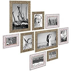 9er Set Bilderrahmen für grosse Bilderwand Strandhaus Vintage Shabby-Chic 10x15 bis 20x30 cm inklusive Zubehör