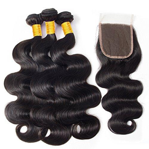 Clarolair capelli umani con closure lovenea capelli umani brasiliano body wave con chiusura brasiliana virgin body wave fasci di capelli con chiusura fasci di capelli umani (22 24 26 +20'')