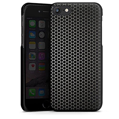 Apple iPhone X Silikon Hülle Case Schutzhülle Muster Schwarz Metal look Hard Case schwarz