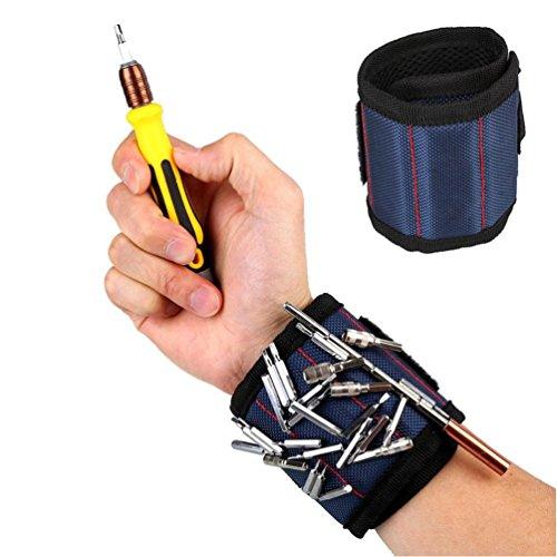 Magnet Armband Wristband Embedded mit 3kraftvolle Magnete für Werkzeuge, Schrauben, Nägel, Schrauben, Bohrer, Schraubendreher-Bits (blau)