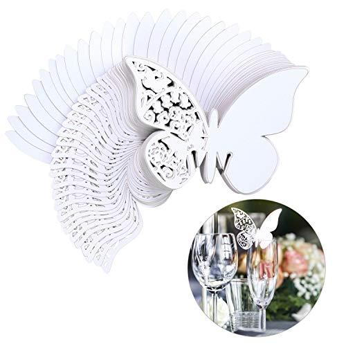 QH-shop Carta di Bicchiere di Vino Farfalla Modello Tazza di Carta Carta della Tazza di Festa Nuziale Decorazioni di Compleanno Pierced Cup Card Bianco 100 PCS