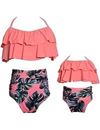 2 piezas Bikini conjuntos de cintura alta con volantes de la impresión de la flor trajes de baño ropa de la familia Madre…