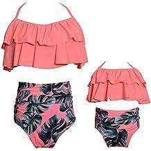 2 piezas Bikini conjuntos de cintura alta con volantes de la impresión de la flor trajes