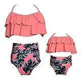2 Stücke Bikini Sets Hohe Taille Rüschen Blumendruck Badeanzüge Familie Kleidung Mutter Tochter Outfits Rosa Mama / XL 16-18