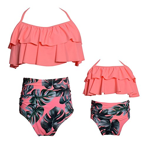 s Hohe Taille Rüschen Blume Druck Badeanzüge Familie Kleidung Mutter Tochter Outfits Rosa Mama / L 12-14 (Niedlich Passenden Outfits Familie)