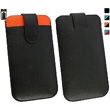 Emartbuy Gigaset GS160 Smartphone Auténtico Negro / Naranja Becerro Cuero Funda Carcasa Case Tipo Bolsa ( Talla LM2 ) con Tarjeta de crédito Espacio & Mecanismo de Pestaña para Estirar