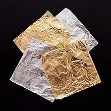 Baker Ross Hojas de hoja de papel de oro y plata (paquete de 12) - Artes y manualidades para niños