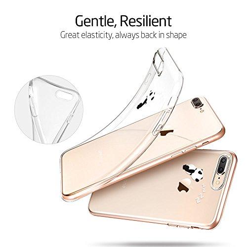 ESR iPhone 8 Plus Hülle, iPhone 7 Plus Hülle, Transparent [Weich Silikon][Ultra Dünn] mit süßes Motiv Schutzhülle [Kabelloses Aufladen Unterstützung] für Apple iPhone 8/7 Plus 5.5 Zoll 2017 Freigegebe Panda