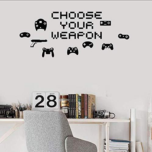 Eeemmm Wählen Sie Ihre Waffe Videospiel Pixel Vinyl Wandtattoo Wohnkultur Schlafzimmer Kunst Wandbild Abnehmbare Wandaufkleber 79 * 58 Cm (Pixel-waffen)