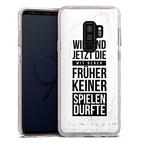 DeinDesign Samsung Galaxy S9 Plus Bumper Hülle rose goldtransparent Bumper Case Schutzhülle Glitzer Look Humor Fun Sayings